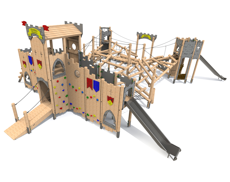 Forest Climber Castle with 2 No. Steel Slides